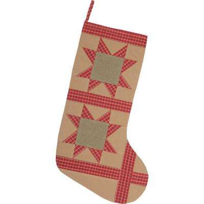 20 in. Cotton Tan Dolly Star Primitive Christmas Decor Patch Stocking