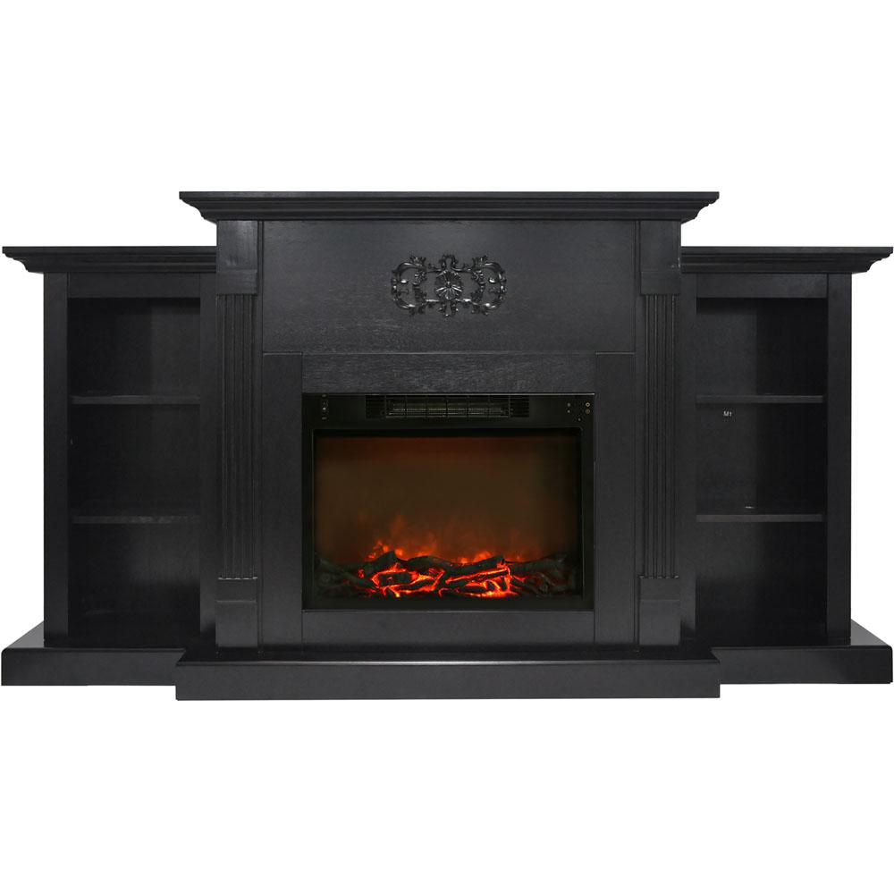 Classic 72 in. Electric Fireplace in Black Coffee with Built-in Bookshelves