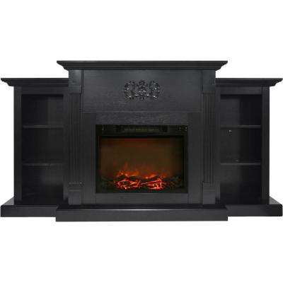 Classic 72 in. Electric Fireplace in Black Coffee with Built-in Bookshelves and 1500-Watt Charred Log Insert