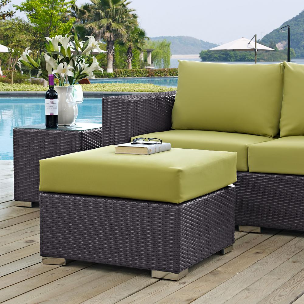 Convene Wicker Outdoor Patio Fabric Square Ottoman in Espresso with Peridot