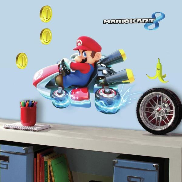5 in  W x 19 in  H Mario Kart 8 7-Piece Peel and Stick Giant Wall Decal