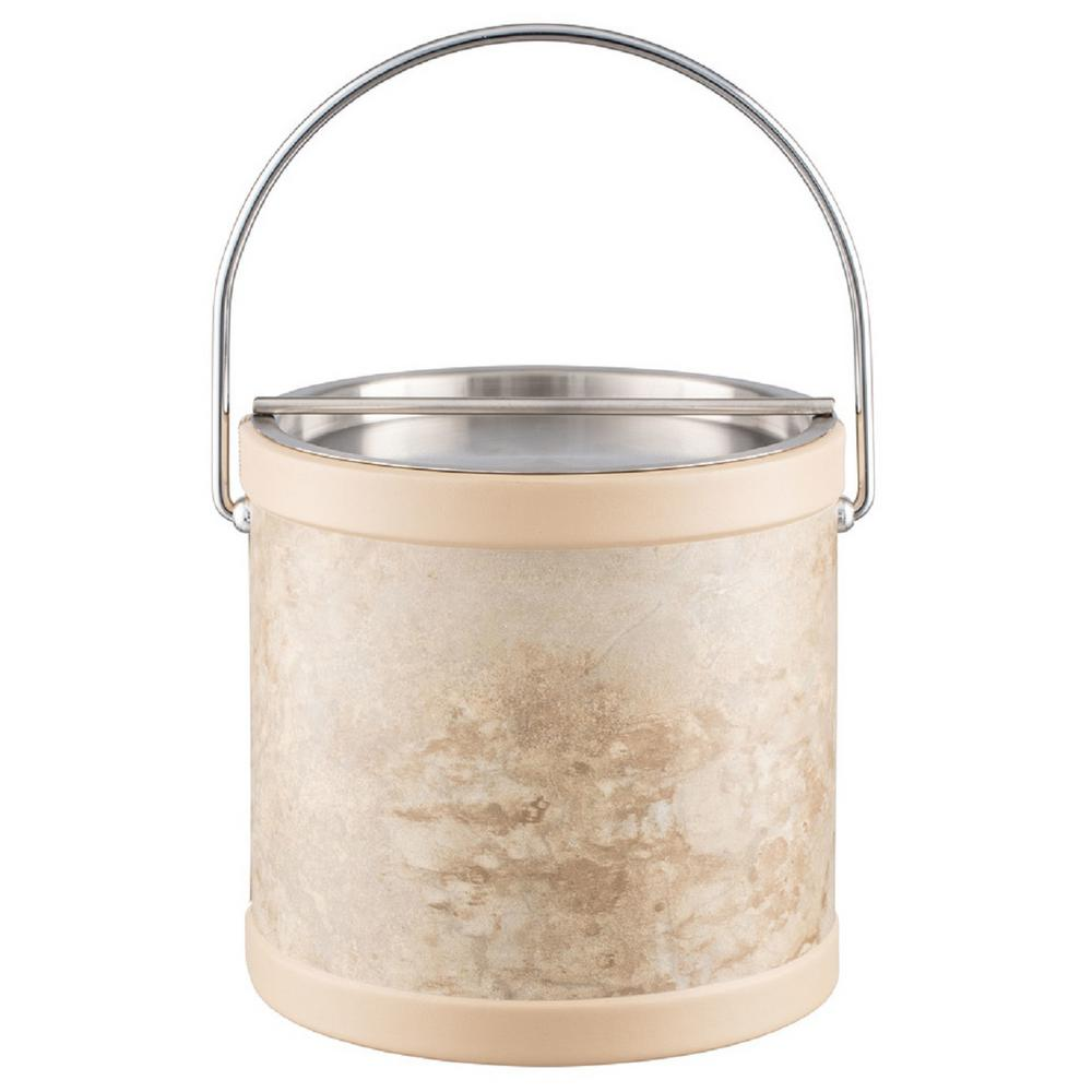 Sand Stone 3 Qt. Tan Ice Bucket with Bale Handle and