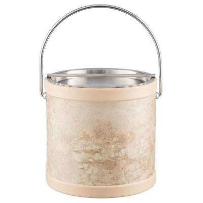 Sand Stone 3 Qt. Tan Ice Bucket with Bale Handle and Metal Bar Lid