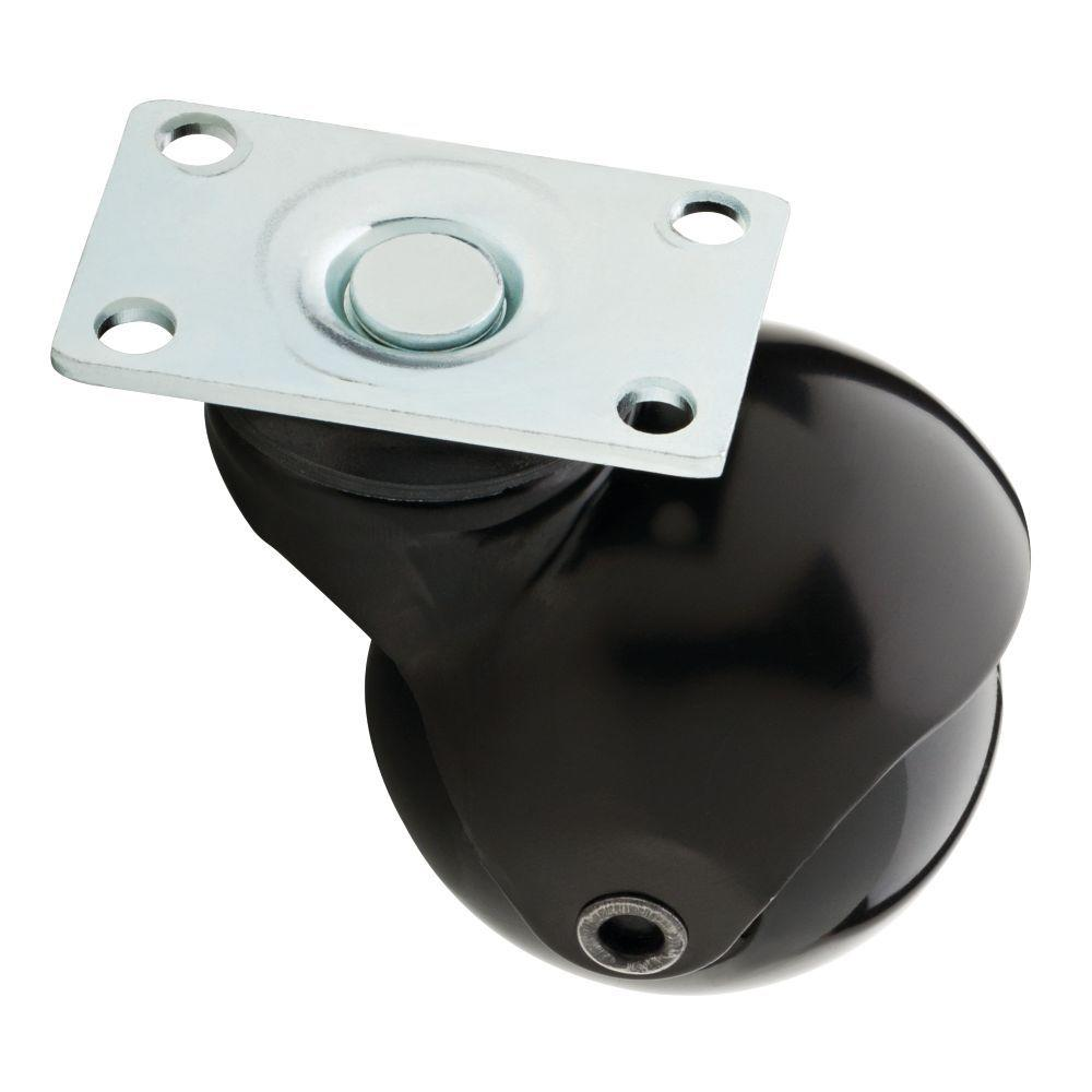 2 in. Black Swivel Plate Caster with 88 lb. Load Rating