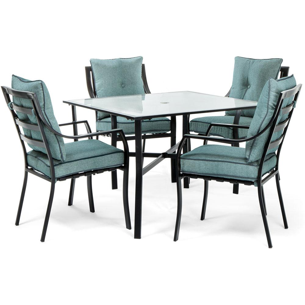 a4533a7b2e7 Hanover Lavallette Black Steel 5-Piece Outdoor Dining Set with Ocean Blue  Cushions