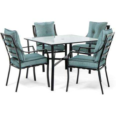 Lavallette Black Steel 5-Piece Outdoor Dining Set with Ocean Blue Cushions