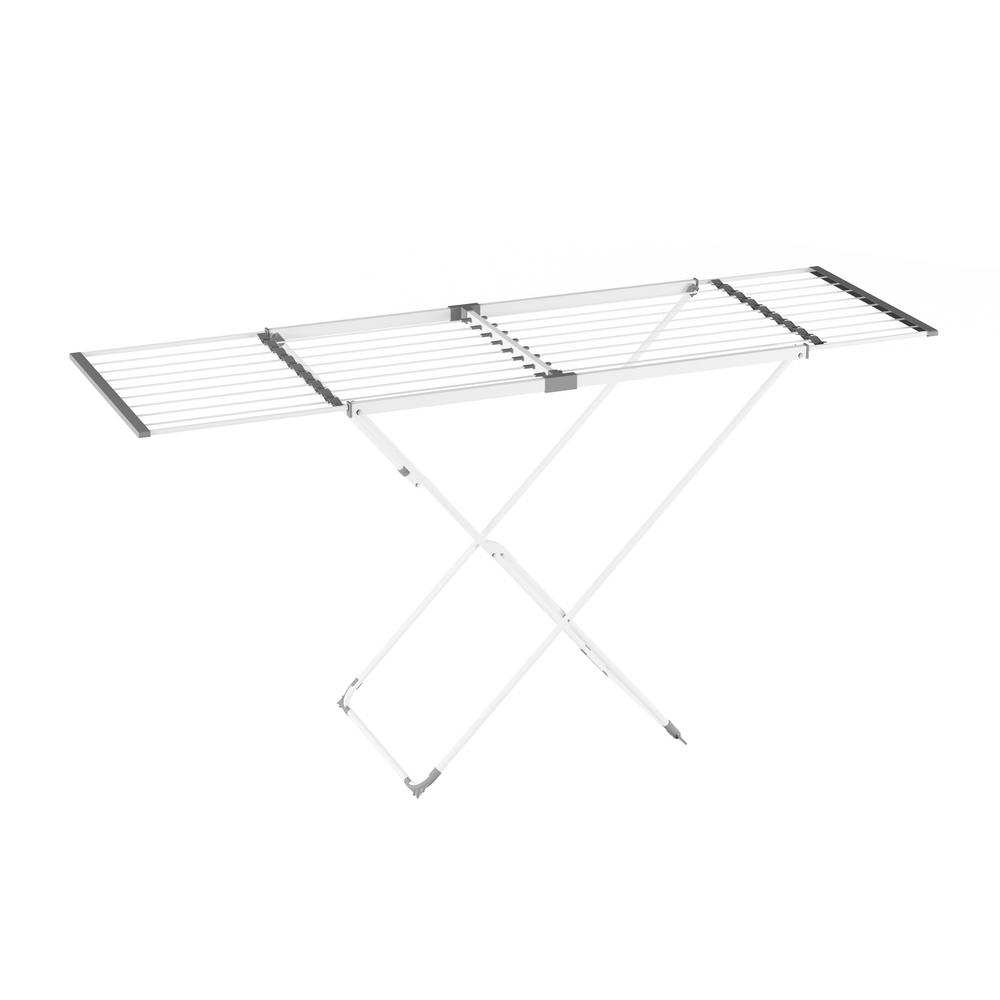 Lavish Home 22 in. x 36 in. Extendable Laundry Drying Rack, White Properly care for all your delicate garments with the 22 in. x 36 in. Extendable Laundry Drying Rack by Lavish Home. The x-frame of this laundry station is made of sturdy square and round steel tubing to stand up to daily loads of laundry and a powder coat paint to help it resist rust and corrosion from damp clothing. The durable steel construction makes this rack not only great for drying clothing, but also for use as a folding table or hanging up clothing for temporary storage. The top of the rack is able to expand from 41.5 inches long to 66 inches long. This allows you to customize the rack to your work space. The entire unit folds flat in seconds for convenient storage when the rack is not in use, making it ideal for small laundry and mudrooms, apartments and dorm rooms. Color: White.