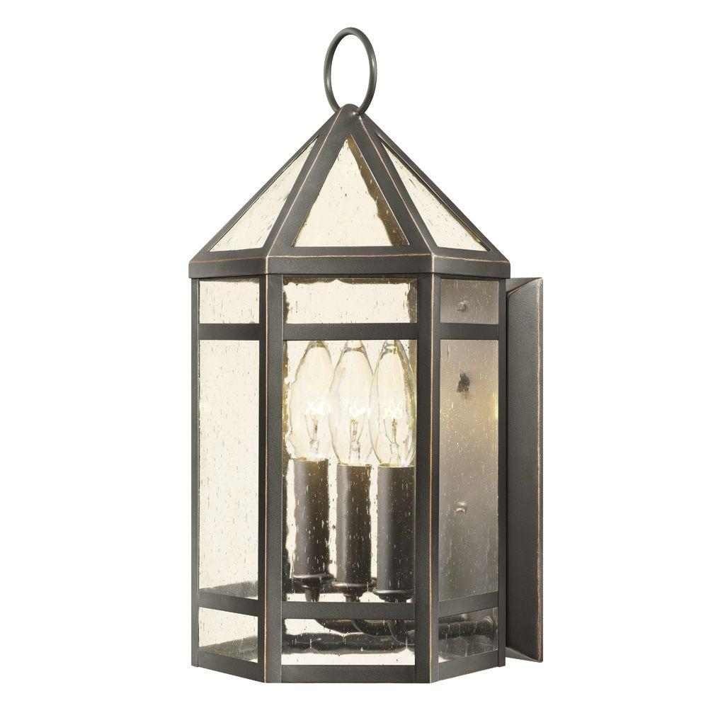Hampton Bay 3-Light Oil Rubbed Bronze Outdoor Wall Lantern