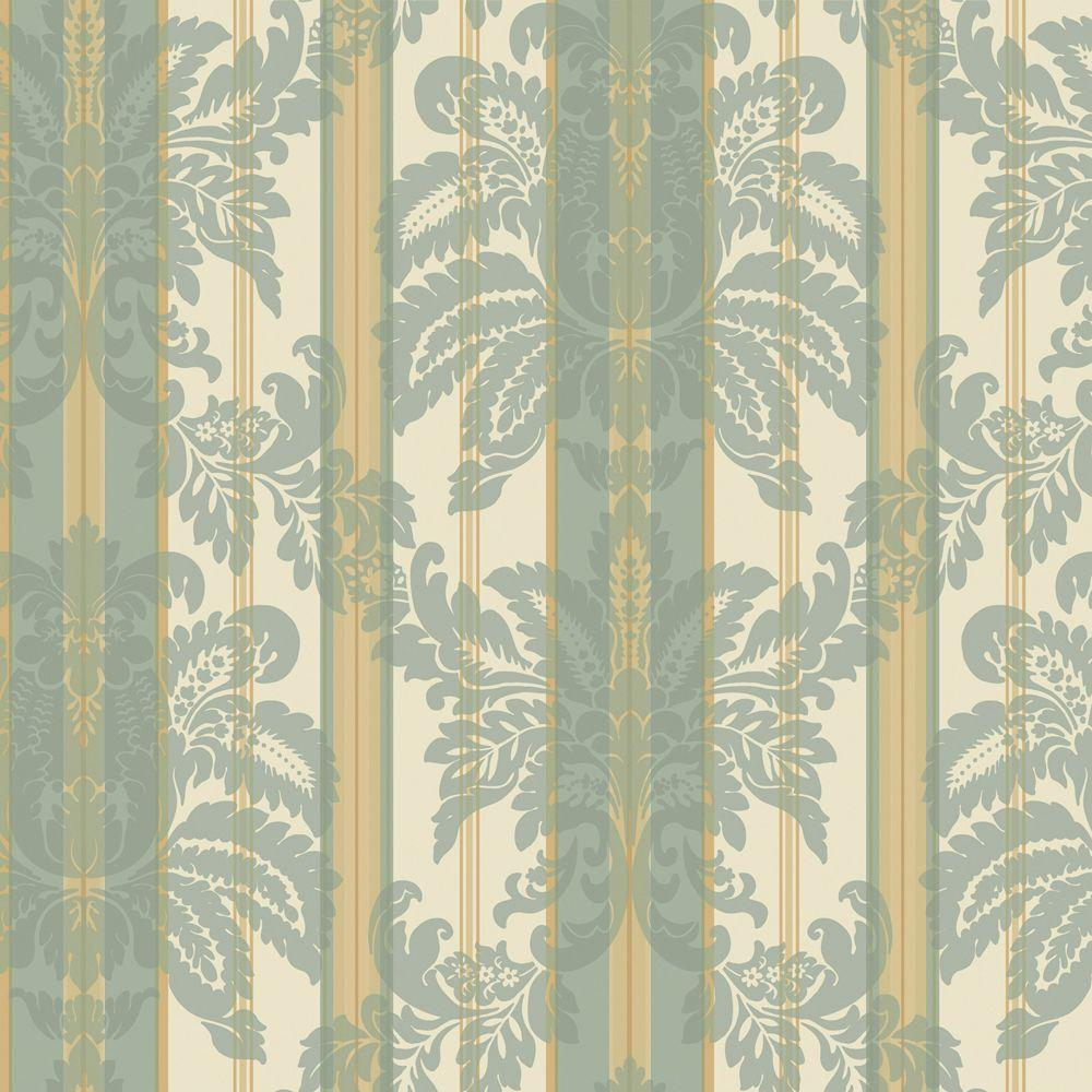 The Wallpaper Company 56 sq. ft. Blue Suede Damask Stripe Wallpaper