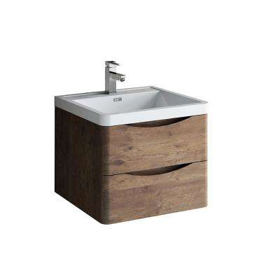 Tuscany 24 in. Modern Wall Hung Vanity in Rosewood with Vanity Top in White with White Basin