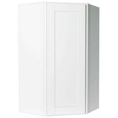 Shaker Assembled 24x42x12 in. Diagonal Corner Wall Kitchen Cabinet in Satin White