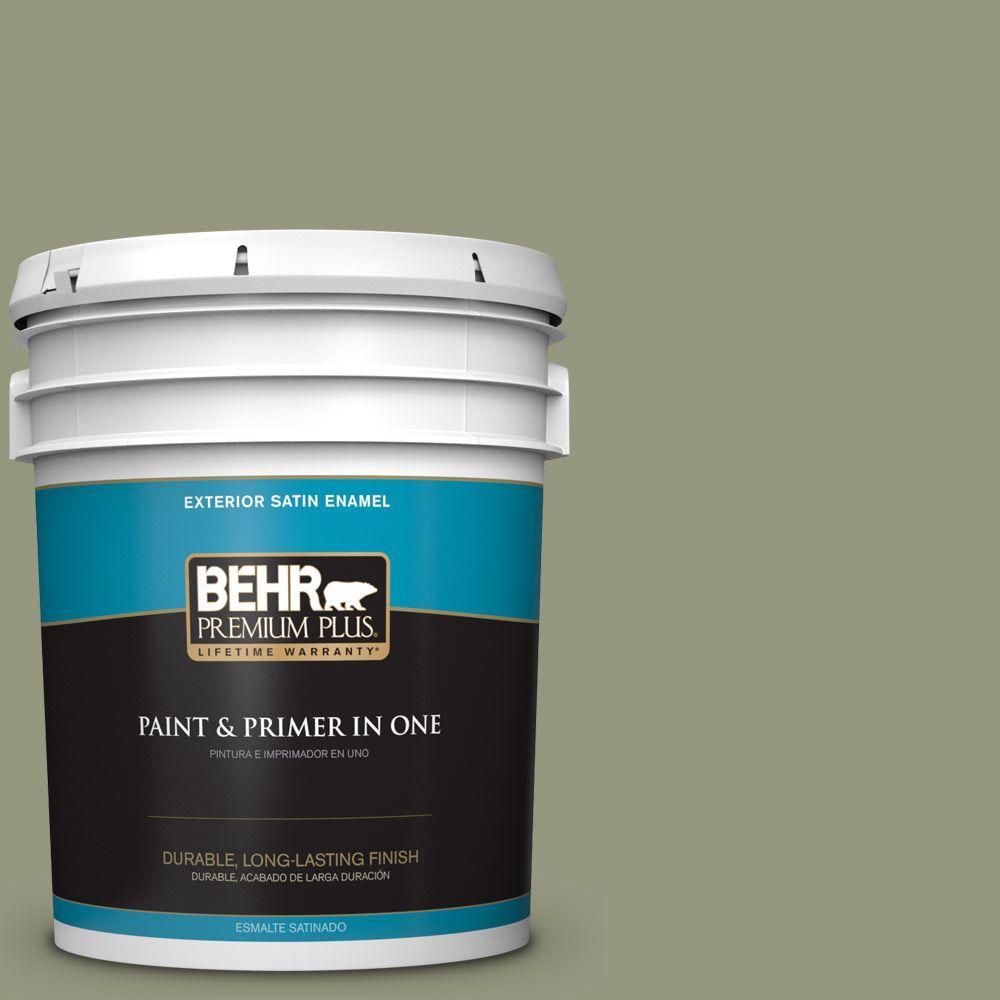 BEHR Premium Plus 5-gal. #S380-5 Milkweed Pod Satin Enamel Exterior Paint