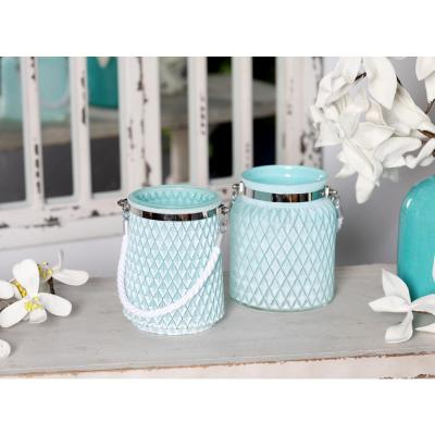 Litton Lane Silver Candle Lanterns with White Rope Handles (Set of 2)