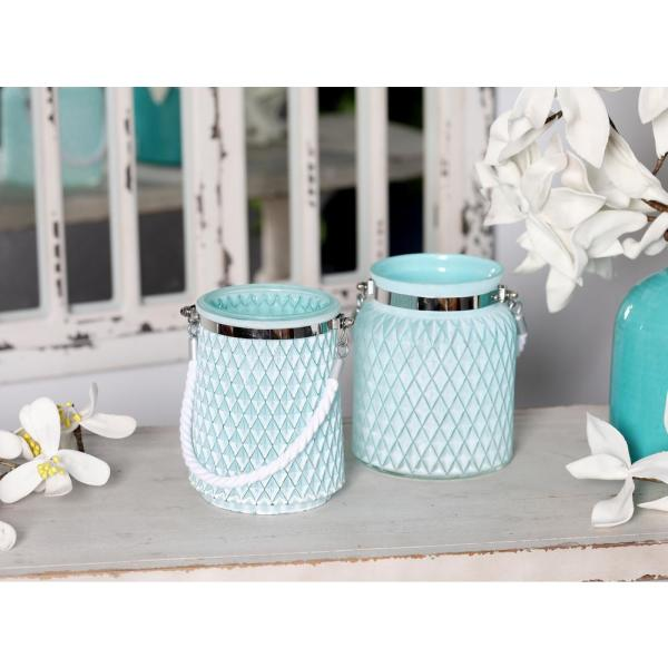 Litton Lane Silver Candle Lanterns with White Rope Handles (Set of