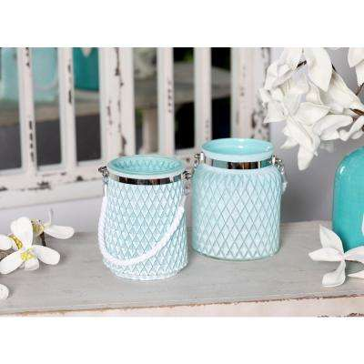 Silver Candle Lanterns with White Rope Handles (Set of 2)