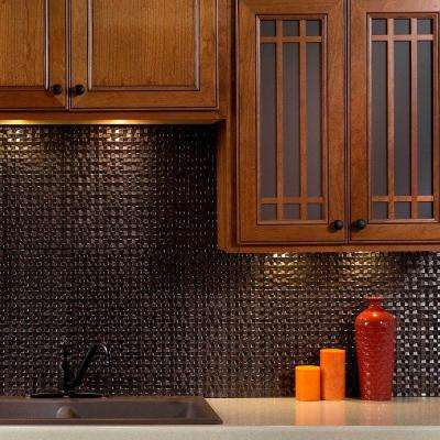 24 in. x 18 in. Terrain PVC Decorative Tile Backsplash in Smoked Pewter
