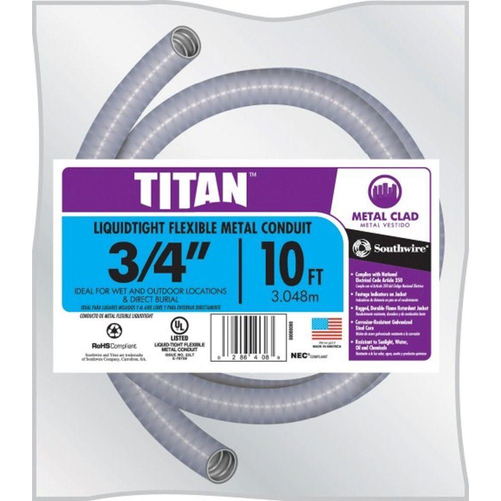 3/4 in. x 10 ft. Liquid Tight Flexible Metallic Titan Steel