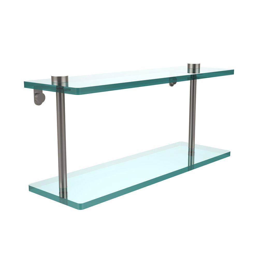 16 in. L x 8 in. H x 5 in. W 2-Tier Clear Glass Vanity Bathroom Shelf in Satin Nickel