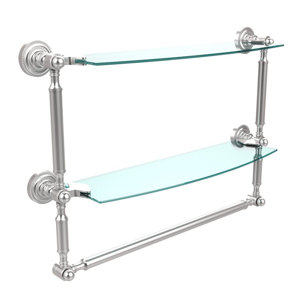 Allied Brass Dottingham 18 In L X 15 In H X 5 In W 2 Tier Clear Glass Bathroom Shelf With