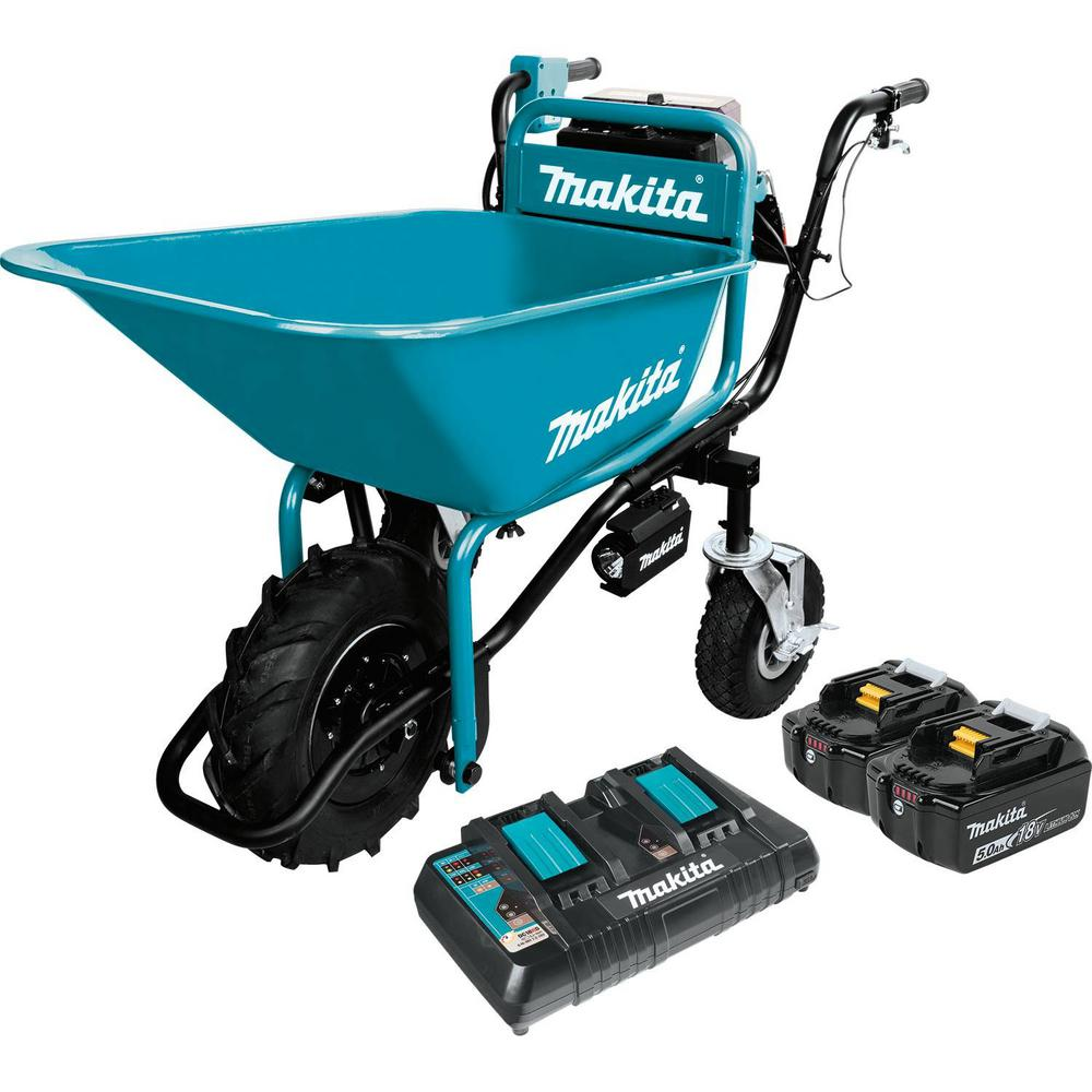 Makita 18-Volt X2 (36-Volt) LXT Lithium-Ion Brushless Cordless Power-Assisted Wheelbarrow with Two 5.0 Ah Batteries and Charger