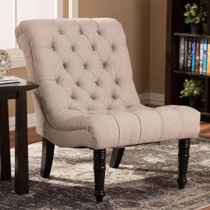 Baxton Studio Caelie Beige Fabric Accent Chair by