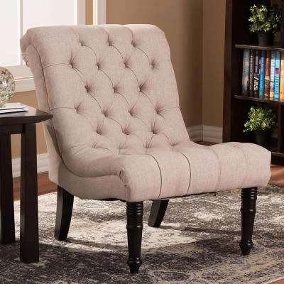 Caelie Beige Fabric Accent Chair