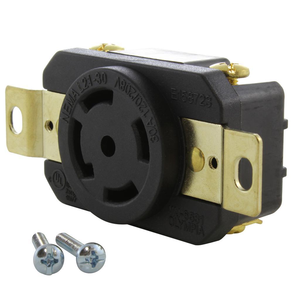 30 Amp 120-Volt/280-Volt Nema L21-30R Flush Mount Locking Industrial Grade Outlet