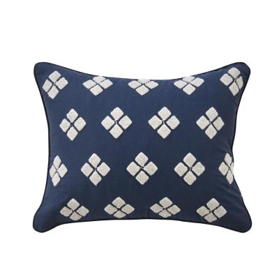 Asher Navy Geometric Polyester 16 in. x 16 in. Throw Pillow