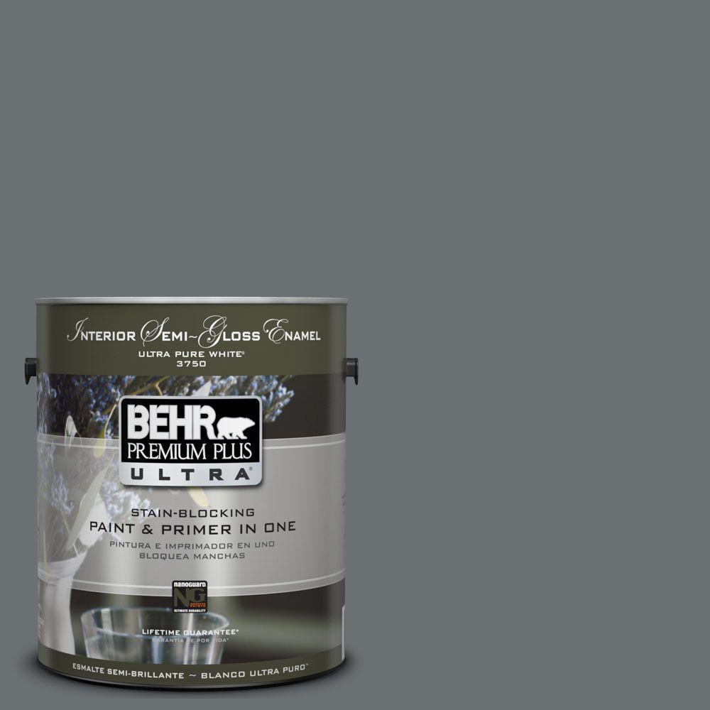 BEHR Premium Plus Ultra 1-gal. #UL260-21 Antique Tin Interior Semi-Gloss Enamel Paint