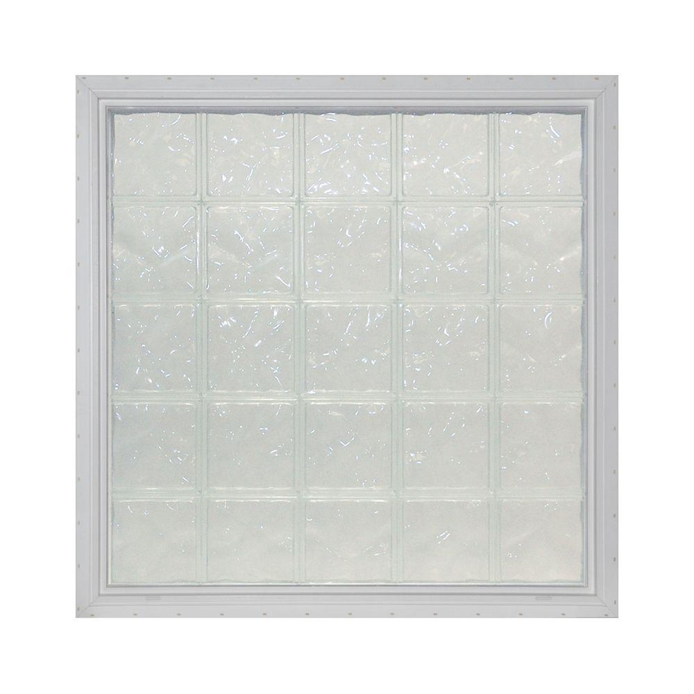 Pittsburgh Corning 24.125 in. x 32 in. x 4.75 in. LightWise IceScapes Pattern Vinyl Glass Block Window