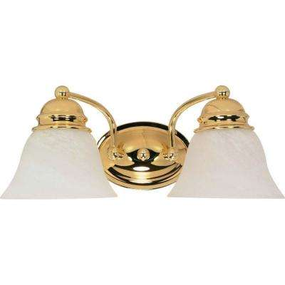 Nuwa 2-Light Polished Brass Bath Vanity Light with Alabaster Glass