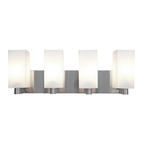 Archi 4-Light Brushed Steel Bath Light with Opal Diffuser
