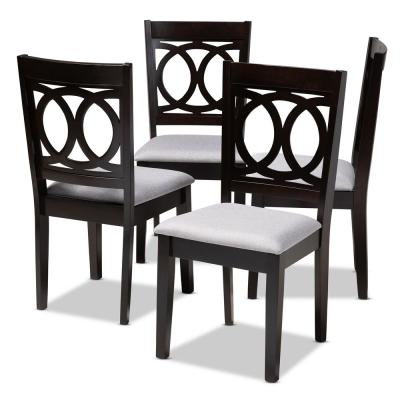 Lenoir Gray and Espresso Fabric Dining Chair (Set of 4)