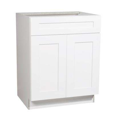 Ready to Assemble 27x34.5x21 in. Shaker 2 Door Vanity Sink Base Cabinet in White with Soft-Close