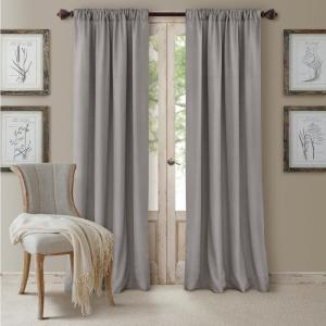 Blackout Cachet 52 inch W x 108 inch L Blackout Window Curtain Panel Silver by
