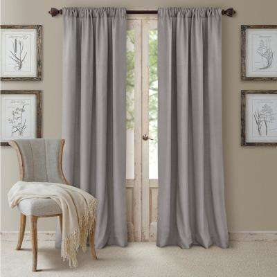 Blackout Cachet 52 in. W x 84 in. L Blackout Window Curtain Panel Silver