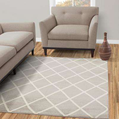 Jasmin Collection Gray and Ivory 5 ft. x 7 ft. Moroccan Trellis Design Area Rug