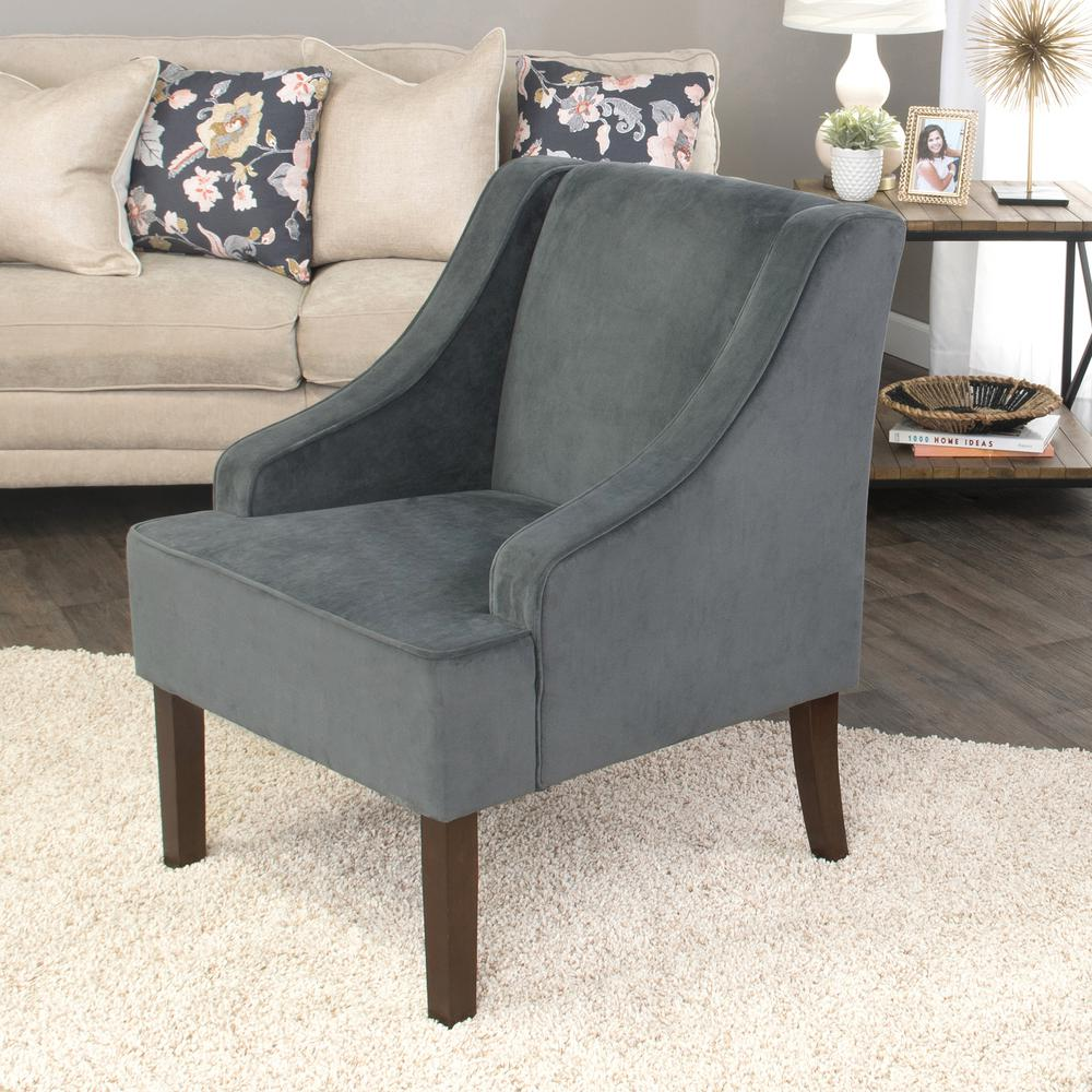 Dark Grey Swoop Arm Velvet Accent Chair