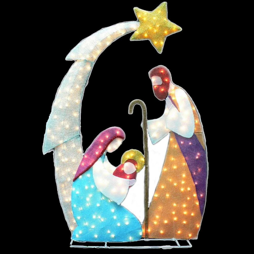 null 6 ft. Lighted Tinsel Nativity Yard Sculpture