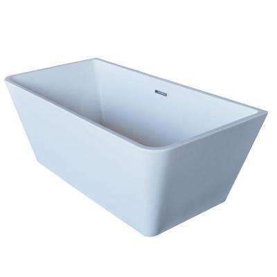 Majanel 5.6 ft. Acrylic Center Drain Freestanding Bathtub in Glossy White