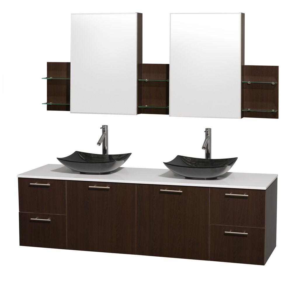 Wyndham Collection Amare 72 In Double Vanity Espresso With Solid Surface Top