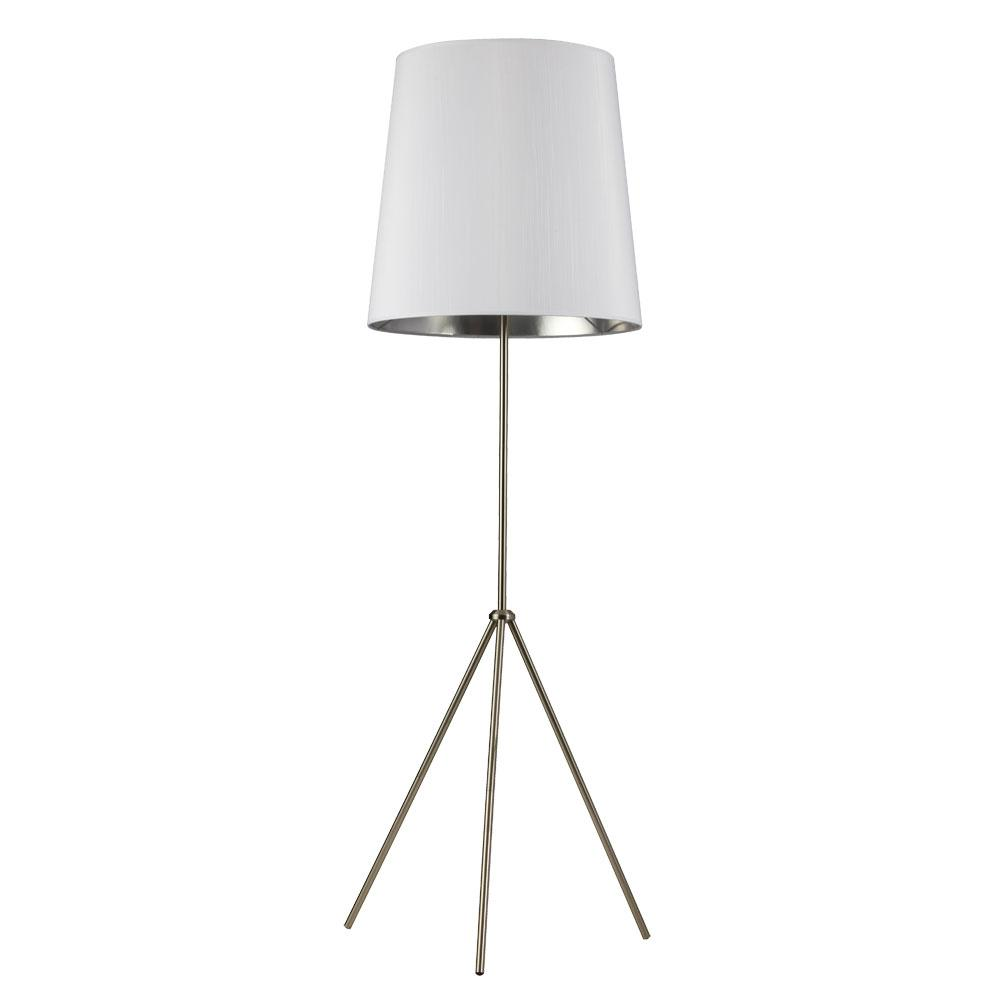Filament Design 66 in. Satin Chrome Floor Lamp with White on Silver Shade