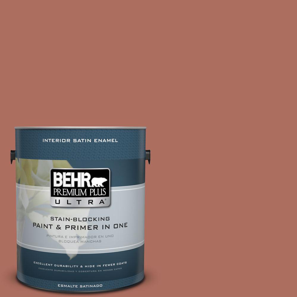 BEHR Premium Plus Ultra 1-Gal. #PPU2-12 Terra Cotta Urn Satin Enamel Interior Paint