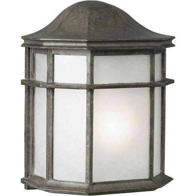 1-Light Outdoor River Rock Wall Lantern with a White Acrylic Shade