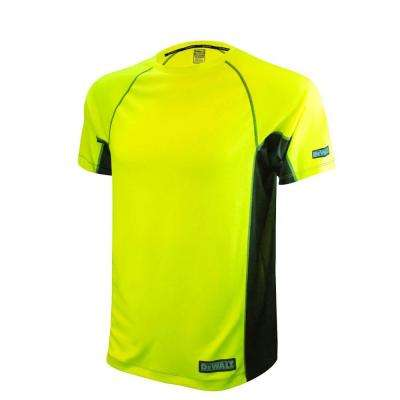 Men's Medium High Visibility Green 2-Tone Non-Rated Short Sleeve Performance T-Shirt
