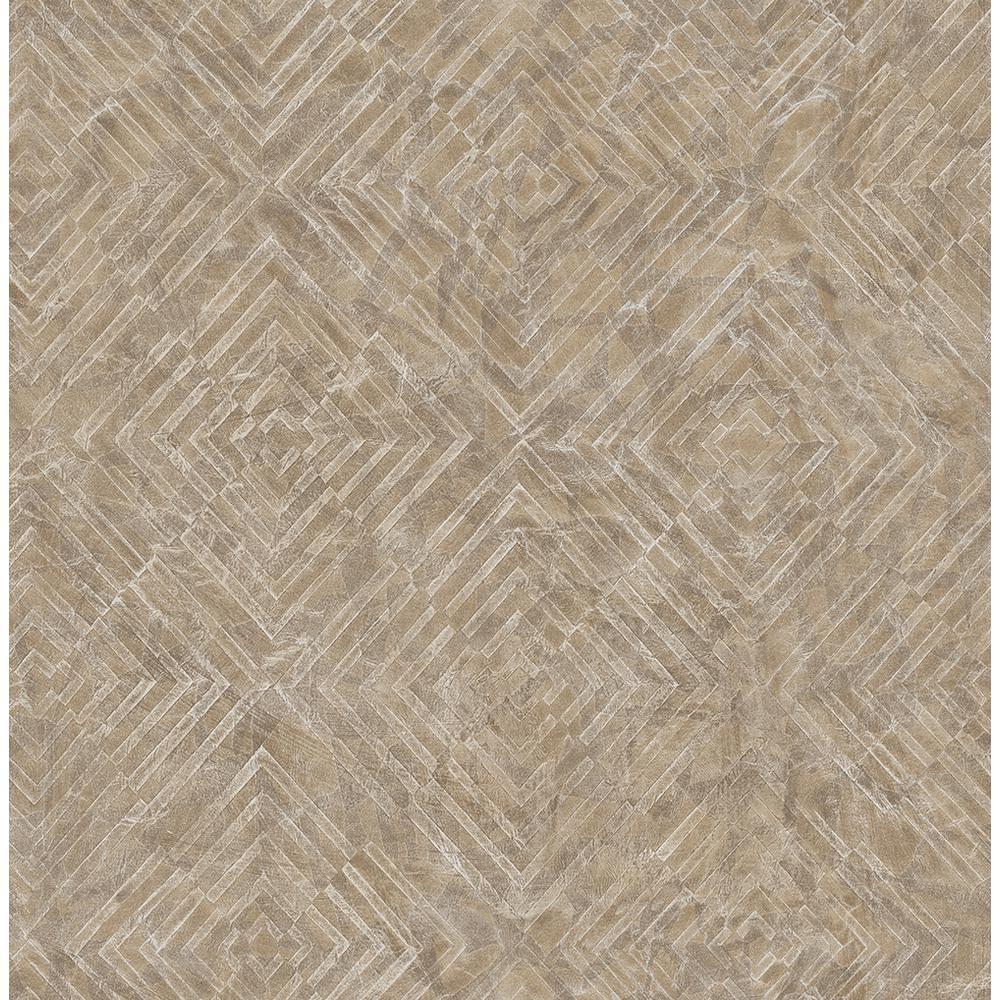 Labyrinth Bronze Geometric Wallpaper Sample