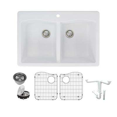 Aversa All-in-One Drop-in Granite 33 in. 1-Hole Equal Double Bowl Kitchen Sink in White
