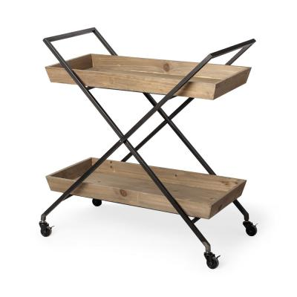 Ursula Black Metal frame 2-Tier with Wood Shelves Bar Cart