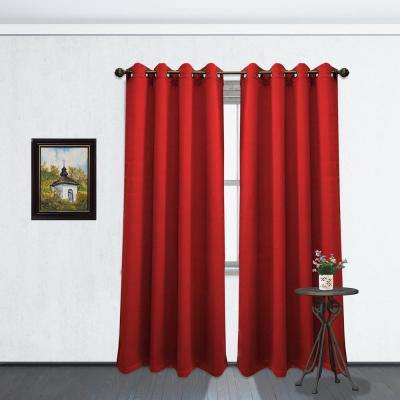 84 in. L Blackout Grommet Curtain Panel in Ruby