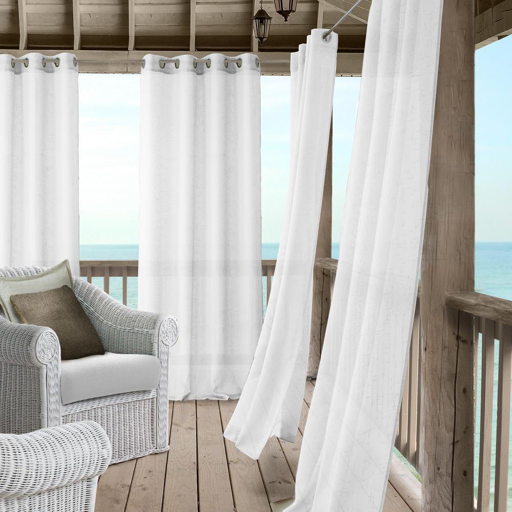 Elrene Bali Sheer Indoor/Outdoor Window Curtain with Tieback